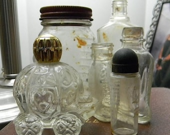 Close Out Sale 6 Vintage Glass Bottles