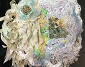 FAIRIES in my GARDEN Chunky Mixed Media Fabric Collage Book Vintage Antique Lace millinery flowers netting Christening Dresses gloves