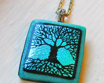 Etched Tree of Life - Fused Dichroic Glass Pendant / Necklace
