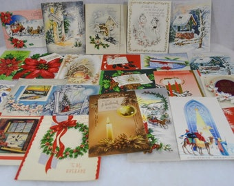 Vintage Christmas Cards Holiday Greetings from the 1940s 1950s Group of 26 - Candles, Houses, Churches, Trees, Lights, Poinsettias, etc.