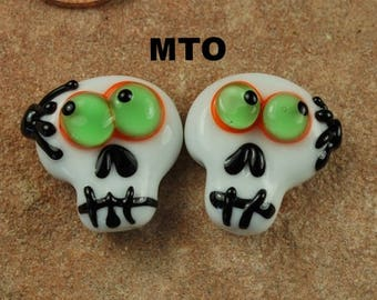 Glass Lampwork Beads,  Made To Order, Skull, Day of the Dead, Spiders, Halloween, Earring Beads SRA #267 by CC Design