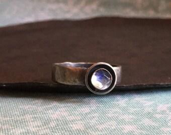 bud ring. rainbow moonstone
