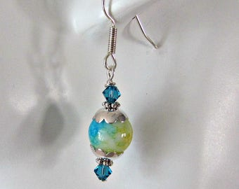 Blue, Yellow Earrings,  Beaded Earrings, Dangle Earrings, All occasion, Indigo Crystals,Tibetan Silver bead caps,  Surgical Steel Wires 1284