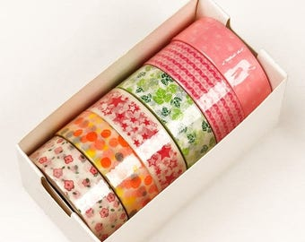 Summer Sale 6 piece packs 10 Yards of Colorful Whimsical and floral Pattern Washi Tape Assortment