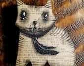 Mr Gatz 01 - one of kind original, outsider, cat, kitties, , handmade, 4x4.25
