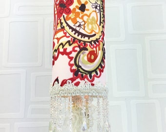 Lampe de table /veilleuse/lampe tissu paisley/lampe style bohème chic/ unique / fait main/ lampe tubulaire