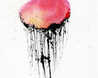Ink painting on canvas 8x12in A4 - abstract jellyfish - red