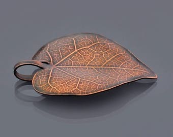 Small Copper Redbud Leaf Ornament, Copper Leaf Ornament, Home Decor, Holiday Ornament, Copper Leaf Pendant