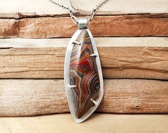 Corvette Fordite necklace, Detroit Agate necklace, Fordite jewelry, girlfriend gift for wife, Sterling Silver statement necklace Gemstone