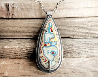 Fordite jewelry, Detroit Agate necklace, fordite pendant, sterling silver statement necklace, girlfriend gift, wife gift for her, gemstone