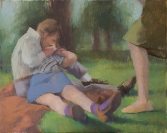 the park fine art print, portrait painting, figure painting, figurative art, contemporary art, contemporary painting by Michelle Farro
