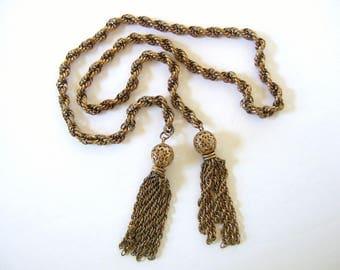 Vintage Tassel Necklace, Goldtone Jewelry