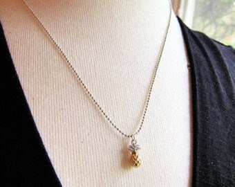 Pineapple Necklace, Dainty Silver Necklace, Tiny Ball Chain, Mixed Metal, Gold, Modern, Pendant Necklace, Everyday Necklace