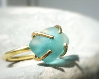 Broken into Beautiful - Aqua Blue Beach Glass Ring in Solid Bronze/Gold Setting Size 8