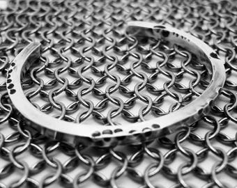 Men's Heavy Silver Cuff, Unisex Silver Bracelet, Silver Anniversary Gift, Gift for Him, Distressed Silver Cuff