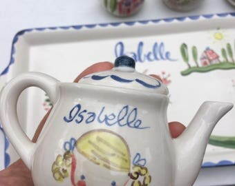 Childs Tea Set, Hand Painted Tea Set, Gift for Girl, pink , Personalized