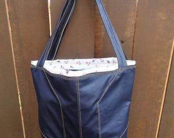 Topstitched Navy blue faux leather tote