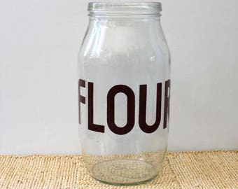 Flour. Vintage mason jar for typography lovers, 1970s.