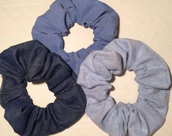 3 Hair Scrunchies, Scruncheys Scrunchys Set Lot of Denim Jeans Fabrics Ponytail Elastics Ties Acc holders covers pull backs Blue schrun