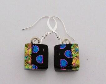 Tiny dichroic glass dangle earrings