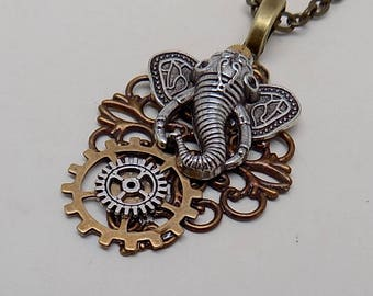 Steampunk jewelry. Steampunk elephant pendant necklace.