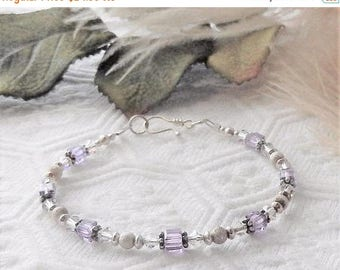 ChristmasInJulySALE..... Sale.....One of a Kind Sterling Silver and Swarovski Crystal Bracelet
