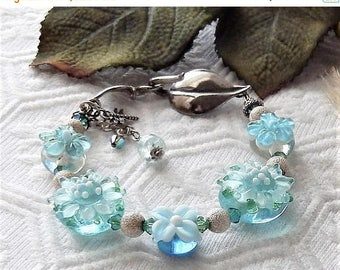 ChristmasInJulySALE..... Sale......One of a Kind Sterling Silver, Lampwork Glass and Swarovski Crystal Bracelet