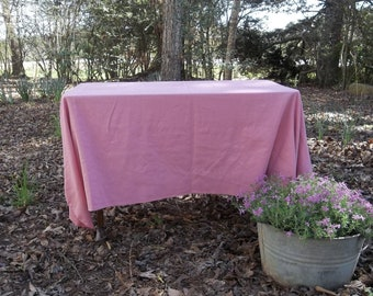 Vintage Pink Tablecloth Easter Table Cloth Overlay 50 x 70 Bridal Shower Decor Wedding Decorations Table Décor French Cottage Chic
