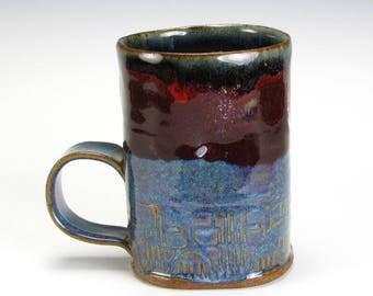Dark Red And Blue Textured Mug
