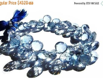 50% Off Sale 1/2 Strand - Blue Mystic Quartz Faceted Heart Briolettes Size 9 - 10mm approx