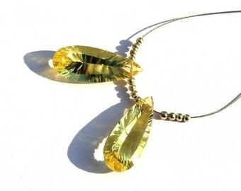 50% Off Sale 2Pcs Match Pair 25x10mm AAA Lemon Quartz Concave Cut Pear Briolettes AAA Gemstone Briolette Concave Cut Beads