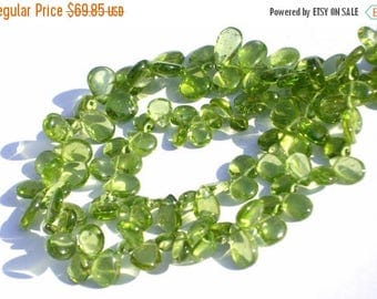 50% Off Sale Full 8 Inches - Finest Quality Genuine Peridot Smooth Polished Pear Briolettes W/50 Pcs Size 7x4 - 10x6mm Wholesale Price