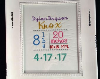 Birth announcement, machine embroidery on cotton fabric, subway style, comes ready to frame in 8 x 10 frame, boy or girl