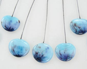 Seven Handmade Glass Lampwork Headpins on Stainless Steel Wire Baby Blue with Fritz