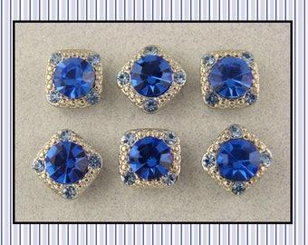"2 Hole Beads ""Stardust Gala"" Sapphire Blue 8mm Swarovski Crystal Elements ~ Sliders QTY 6     (SKU 546438847)"