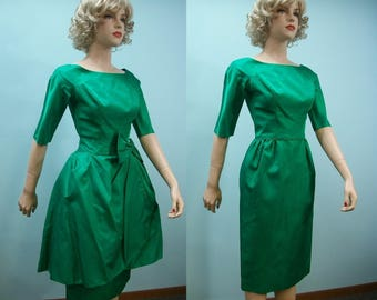 60s Dress . Vintage Emerald Green Satin Dress & Overskirt . XS S