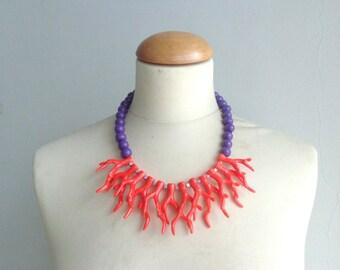 Blue orange necklace, blue coral branch necklace, orange necklace, orange blue coral branch statement