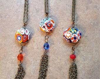 Millefiori glass Tassle Necklace Handmade Vintage