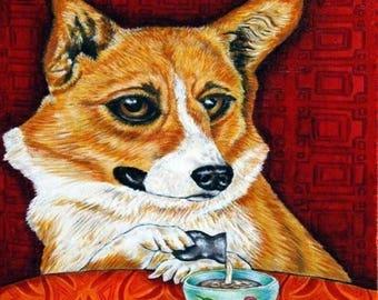 20 % off storewide Corgi at the Coffee Shop Dog Art Tile Coaster JSCHMETZ modern folk pop art