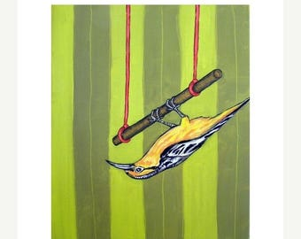 20% off storewide Oriole,oriole art, oriole print, trapeze, 11x14 PRINT, bird art, bird PRINT, modern folk art gift