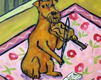 20% off storewide Irish Terrier Playing the Violin Dog Art Tile