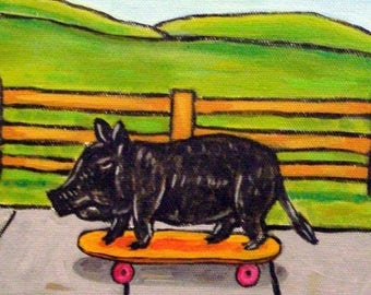 20% off storewide Pot Belly Pig on a Skateboard Animal Art Tile Coaster