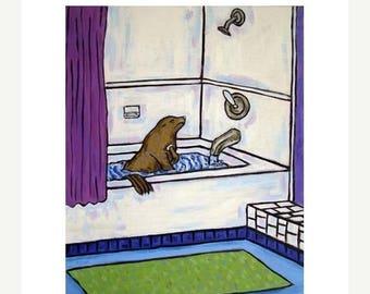 20% off Sea Lion Taking a Bath Animal Bathroom Art Print