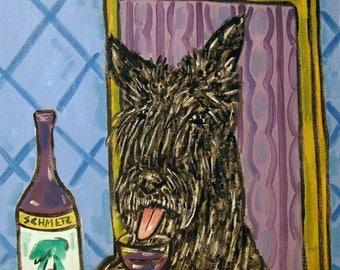Scottish Terrier at the Wine Bar Dog Art Print   JSCHMETZ modern abstract folk pop art gift