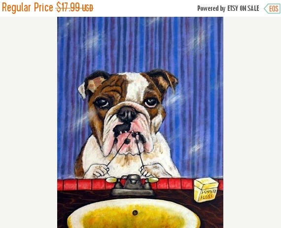 20% off storewide Bulldog - 11x14 dog art PRINT poster gift, modern folk art, dentist gift, bulldog print, bulldog art,