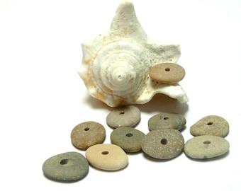 Genuine Beach Stones ROCK LOBSTER 10 Satisfying River Rock Pebble Wheels Donuts Rondelles Jewelry Spacer Bead Organic Center Beachstone