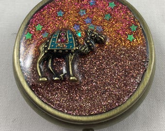 Unique Handcrafted Medicine/ Pill box / Trinket Box/ One of a Kind/ Glitter/ Gift
