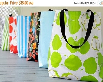 FINAL CLEARANCE market tote RETIRED Prints // oilcloth grocery bag - market bag - teacher gift