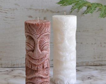 Set of 2 Tiki Candles.  Boho & Beachy, Hawaiian Luau Party, tiki bar poolside summer living