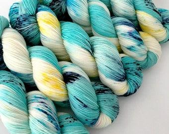 BLUE CURACAO - Hand Dyed Yarn - Signature Merino Nylon Sock Yarn Fingering - Ready to Ship - Vivid Yarn Studio